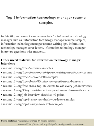 Information Technology Resume Sample top100informationtechnologymanagerresumesamples100conversiongate100thumbnail100jpgcb=11002796100003100 84