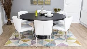 wenge dark wood and white leather extending dining set