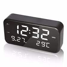 Büyük Ekran LED müzik çalar saat Sıcaklık Tarih ve hafta Masaüstü Dijital  Başucu Saat Beyaz alarm clock digital bedside clockmusic alarm clock -  AliExpress