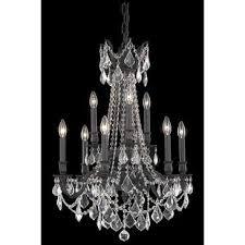 elegant lighting rosalia 9 light dark bronze chandelier golden teak smoky royal cut crystal