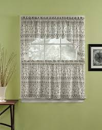 Kitchen Cafe Curtains Nice Fabric Yellow White With Flora Pattern Kitchen Cafe Curtains
