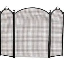 alpine flame 52 inch 3 fold arched black fireplace screen 40 inches tall