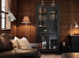 Living Room Cabinets With Glass Doors Hemnes Black Brown Cabinet With Tempered Glass Doors And Format