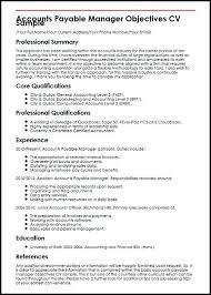 Resume Accounts Payable Custom Accounts Payable Manager Objectives