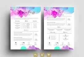 water colorresumetemplatepsd psd resume templates