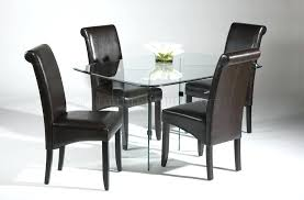round black glass dining table furniture minimalist glass dining table with 4 leather dining chairs glass round black