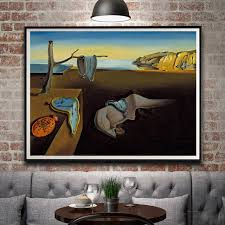 artwork painting salvador dali clocks surreal classic art silk poster painting home decor 12x16 18x24 24x32
