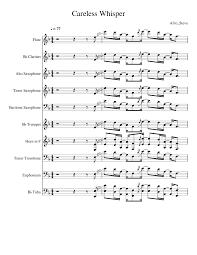 careless whisper tenor sax sheet music careless whisper sax solo sheet music for flute clarinet alto