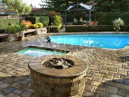 outdoor paver firepit jacuzzi