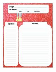 Recipe Paper Template Free Cookbook Template