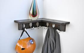 furniture black corner shelf with coat hook rack hanging white painted wall well mahogany mounted also