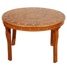 moroccan round coffee table inlaid marquetry for