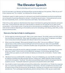 examples of elevator speech