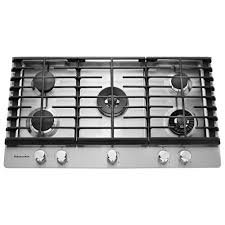 kitchenaid 36 in gas cooktop in stainless steel with 5 burners including professional dual tier