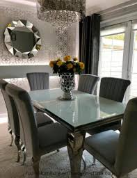 modern chrome french style white dining table set with scallop back velvet chair