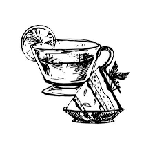 vintage tea cups drawing. Modren Cups Hand Drawn Sketch Of Tea Cup And Delicious Cheesecake Vintage Sketch  Great For Label Inside Cups Drawing A