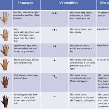 Skin Scope Color Chart Skin Type Chart A Numerical Classification Scheme For The