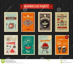Barbecue Flyers Set Of Flyers For Barbecue Party Stock Vector Illustration