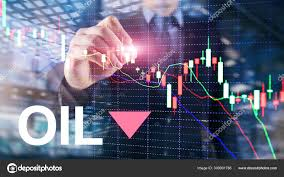 Oil Trend Down Candle Graph Chart Oil Barrels And A