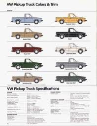 VW pick-up Colour's | all things vw | Pinterest | Vw rabbit pickup ...