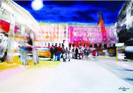 plaza mayor madrid photography and painting on forex panel 70 x 100 cm