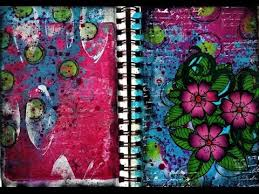 art journal page using coloring book image