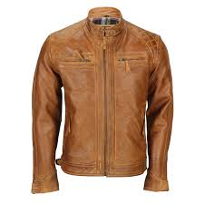 Light Brown Leather Jacket Mens Details About Mens Real Leather Washed Tan Rust Brown Vintage Zipped Smart Casual Biker Jacket