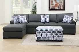 l grey fabric sectional sofa with chaise and four seats completed by white grey cushions