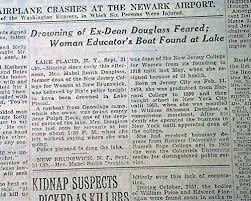 Amazon.com: MABEL SMITH DOUGLASS Residential College Dean Lake Placid  DROWNING1933 Newspaper THE NEW YORK TIMES, September 22, 1933:  Entertainment Collectibles