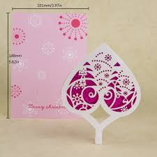 Pink Christmas Card Merry Christmas Card Pink Laser Cutting Heart Design Christmas Tree