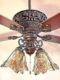 60 orb oil rubbed bronze ceiling fan with 4 light amber hand blown glass md