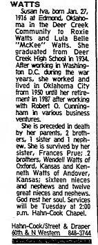 Susan Iva Watts obit - Newspapers.com