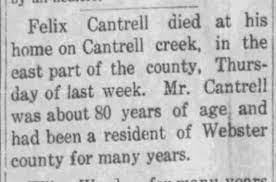 Felix CANTRELL - Death Notice - Newspapers.com
