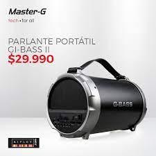 Master-G - Parlante portátil Bluetooth G-BASS II, para que escuches la  música que más te gusta donde quiera que vayas. Cuenta con conectividad USB  para reproducir MP3, Tarjeta SD y Radio FM.