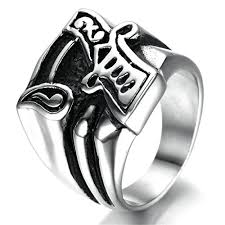 Bishilin 8mm Black <b>Titanium Steel Ring</b> Celtic Dragon Pattern Inlay ...
