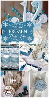 An elegant and sophisticated Frozen girl birthday celebration with silver,  blue and white party decorations