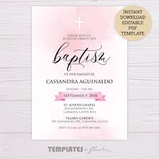 Baptism Invitations Templates Pink Watercolor Baptism Invitation Template