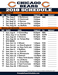 Printable Chicago Bears 2019 Schedule