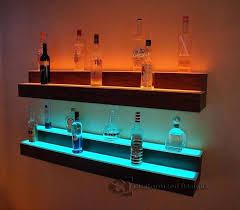 home bar wall shelves led lighted liquor illuminated displays 2 tiers for shelf home bar wall shelves