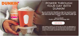 input 4 coca cola codes in your e account and get a 2 dunkin donuts gift card
