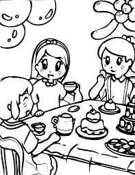 Hello kitty riding bicycle ef46. Tea Party Coloring Pages