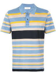 cerruti multi stripe polo shirt blue