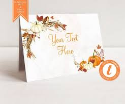 Fall Place Cards Printable Pumpkin Table Cards Orange Thanksgiving Table