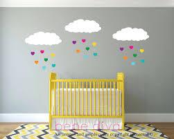 custom nursery wall decals cloud wall decals rainbow hearts baby nursery wall  decal baby cloud wall