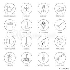set of garden tools round thin line icons gardening equipment and name agricultural tool black and white vector ilration