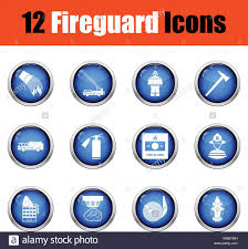Set Of Fire Service Icons Glossy Button Design Vector Stock Vector