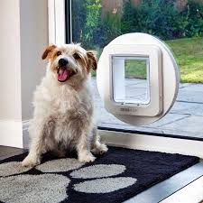 sureflap microchip large pet door white installed in glass