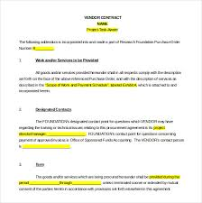 Contract Templates Word Cool Vendor Agreement Template 48 Free Word PDF Documents Download