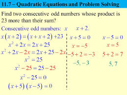 11 7 quadratic equations and problem solving