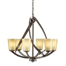 kichler layla 24 21 in 6 light olde bronze rustic tinted glass shaded chandelier